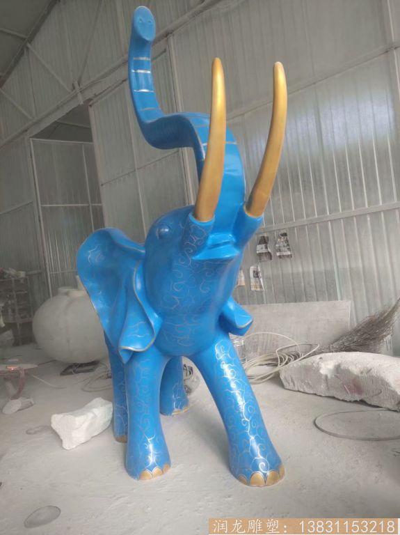 玻璃钢大象雕塑 深蓝色雕花大象动物雕塑2